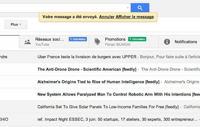 Gmail : annuler l'envoi