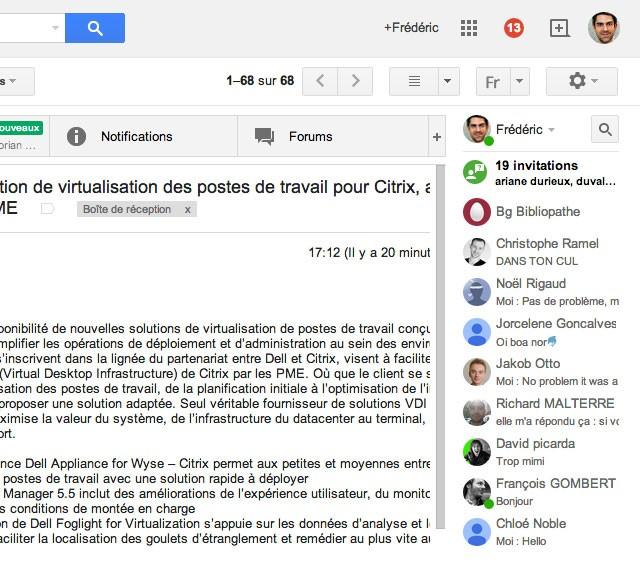 Gmail : le chat à droite