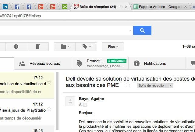 Gmail : icône de messages non lus