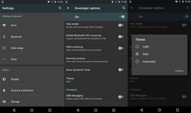 Mode nuit Android M