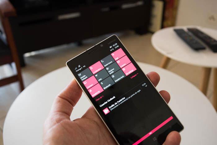 Windows 10 Mobile : centre de notifications