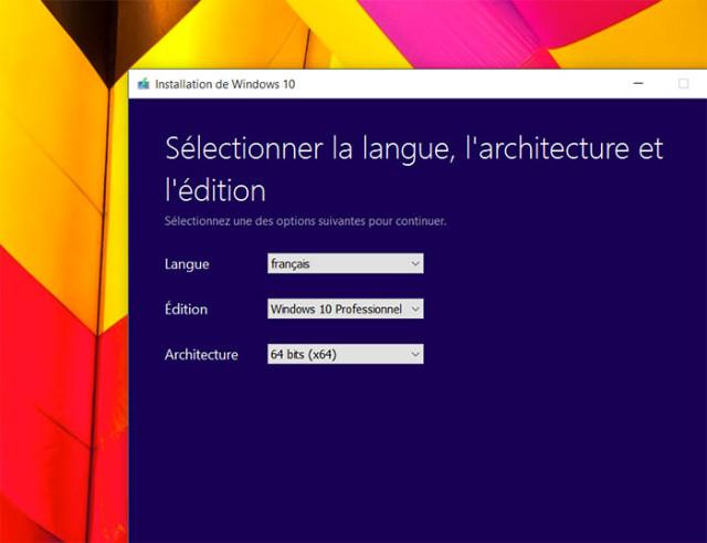 Créer disque Windows 10 : étape 2