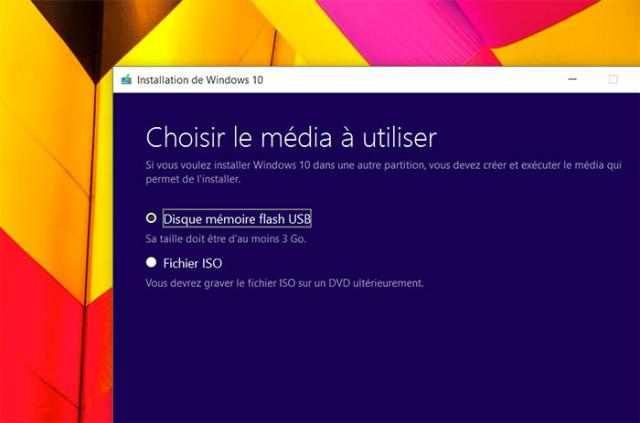 Créer disque Windows 10 : étape 3