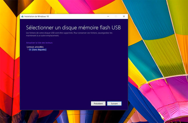 Créer disque Windows 10 : étape 4