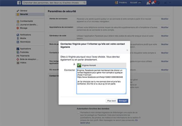 Capture contact légataire Facebook