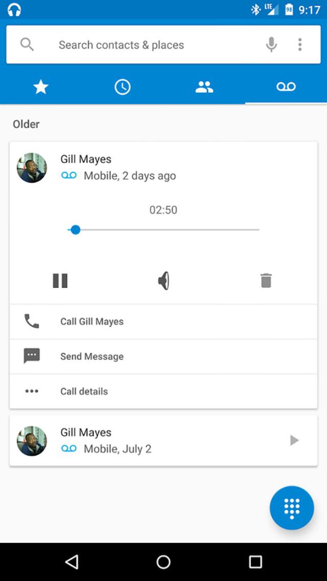 Capture Messagerie vocale visuelle Android M