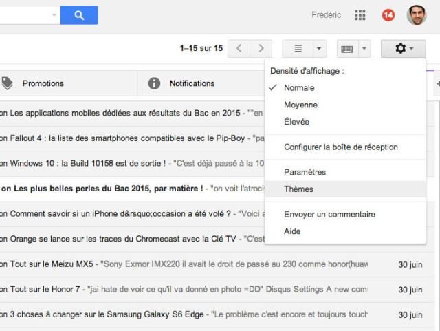 Modifier thème Gmail : capture 1