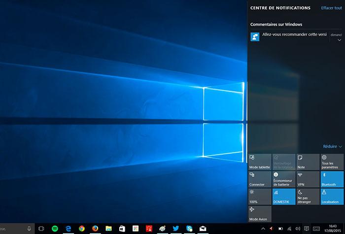 Centre de notifications Windows 10 : capture 3