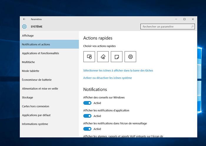 Centre de notifications Windows 10 : capture 1