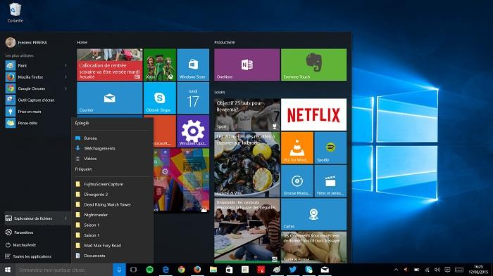 Menu démarrer Windows 10 : capture 3