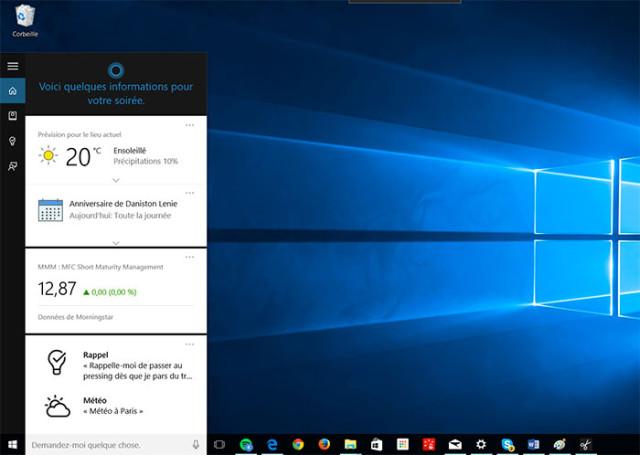 Cortana : capture 1