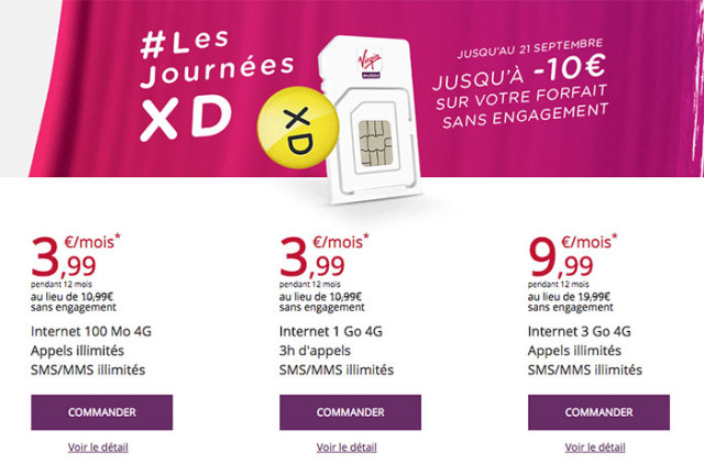 Promotions Virgin Mobile Rentrée 2015
