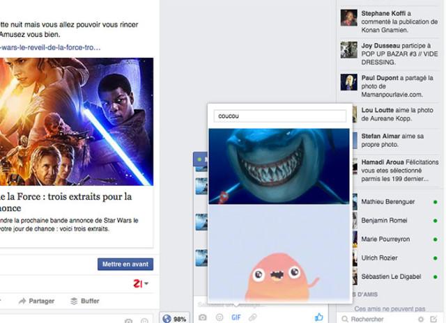 Capture GIFs animés Facebook