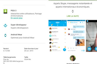 Un indicateur Android Wear sur le Google Play Store