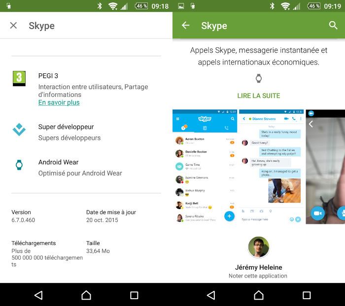 Un indicateur Android Wear sur le Google Play Store