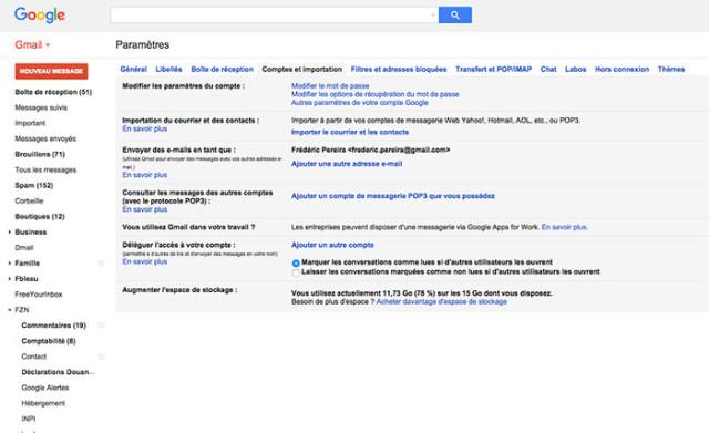 Capture Partage compte Gmail