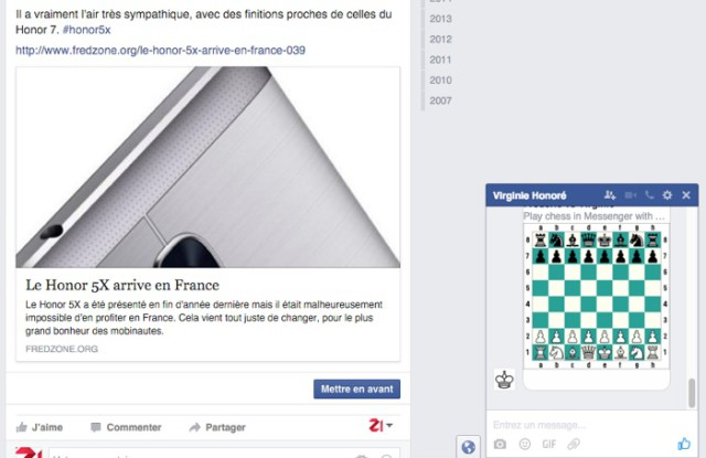 Capture échecs Facebook Messenger