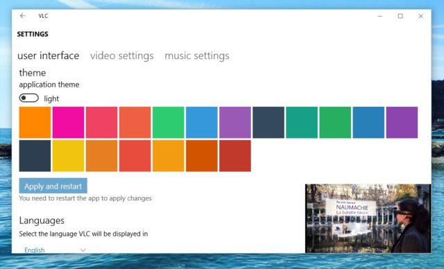 Paramètres d'affichage - VLC Windows 10