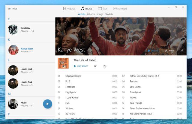 Interface artiste - VLC Windows 10