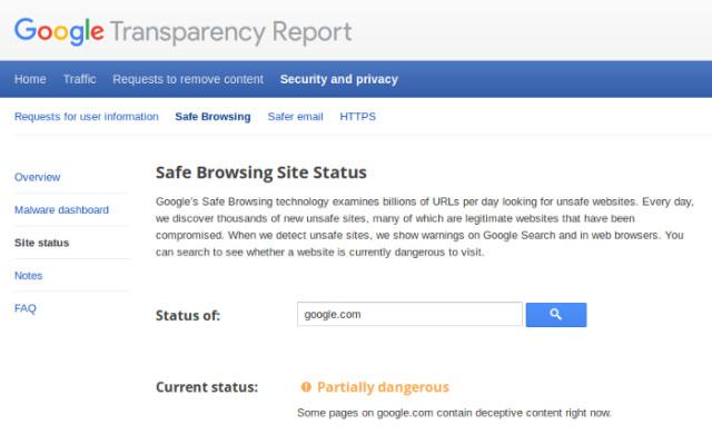 Google.com dangereux