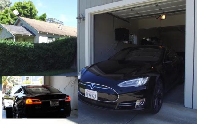 Personne n'est au volant de cette Tesla, et pourtant elle sort de son garage
