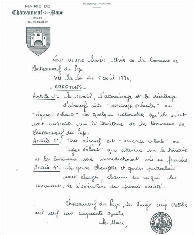 Arrêté Châteauneuf-du-Pape