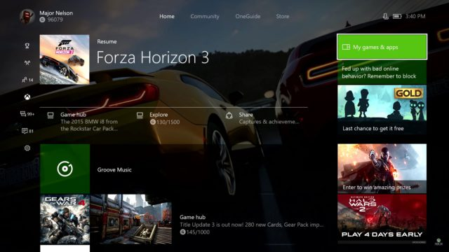Xbox One interface Update