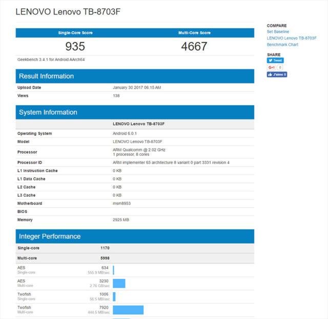 Bench Lenovo Tab3 8 Plus