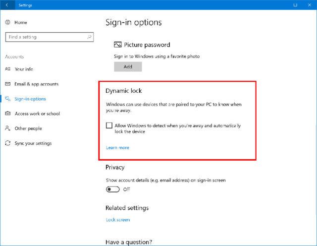 Windows 10 : Dynamic Lock