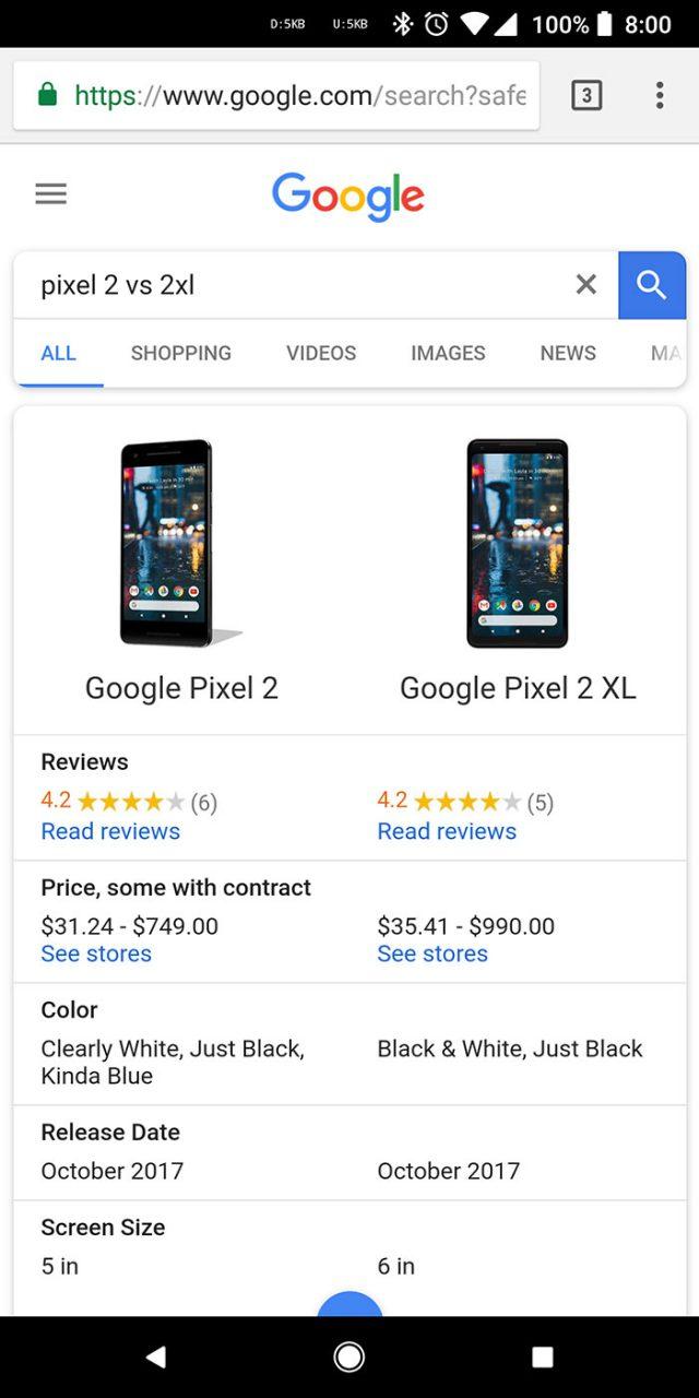 Comparateur Google : capture 1