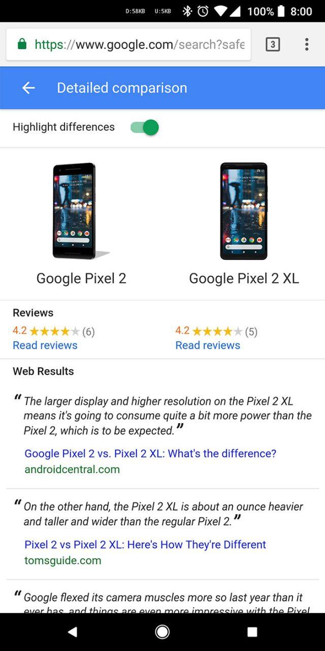 Comparateur Google : capture 2