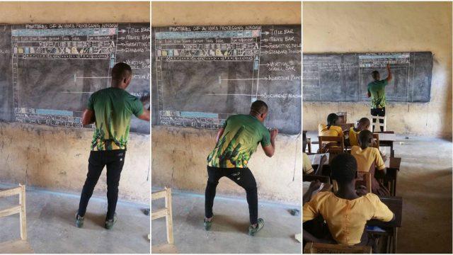 Au Ghana, un professeur est forcé de dessiner Word pour enseigner l'informatique
