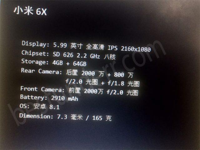 Xiaomi Mi A2 specs