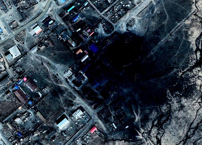 Il y a une immense tache noire dans une ville de Mongolie sur Google Maps
