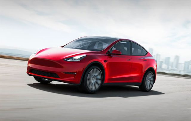 La Tesla Model Y en couleur rouge