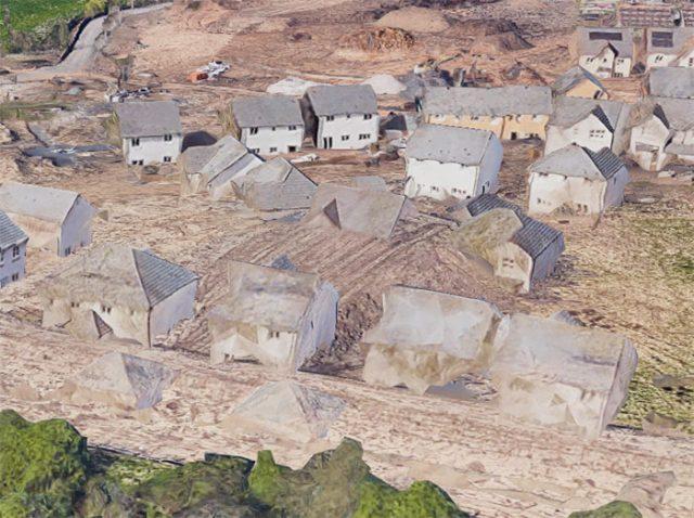 Il y a un petit problème sur la vue 3D de ce hameau visiblement
