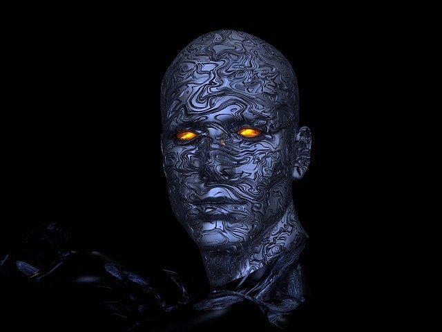 Une tête de cyborg