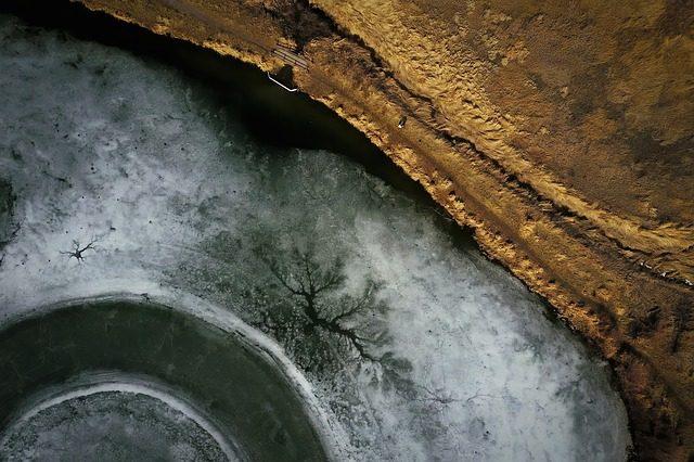 Une vue photographiée d'un drone