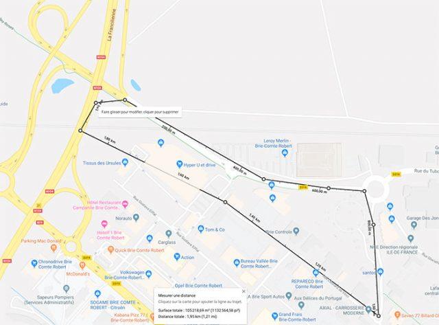 Google Maps permet de calculer des distances ou des surfaces