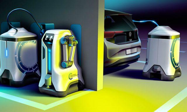 Volkswagen a imaginé des robots capables de se mouvoir et de charger nos véhicules électriques (crédits VW)