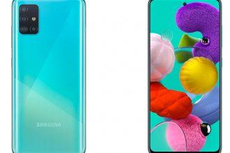 Le Galaxy A51 de dos et de face, on appréciera les motifs incrustés dans le verre