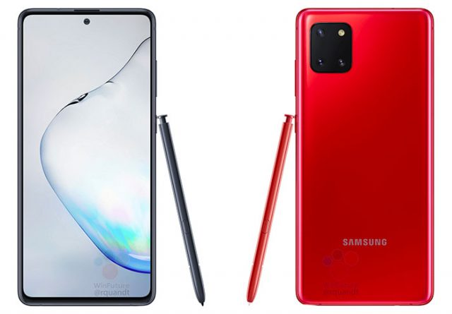 Le Galaxy Note 10 Lite de face, et de dos