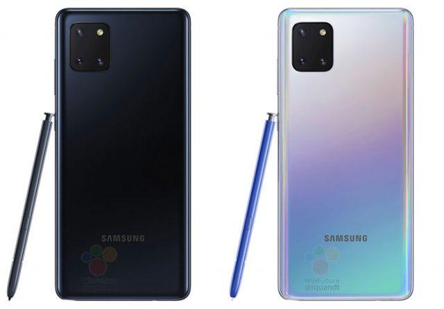Le Galaxy Note 10 Lite en version noire et Aura Glow