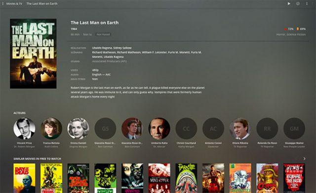 La fiche d'un film sur Plex