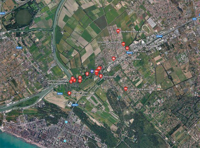 Une vue de la région d'Ostia Antica