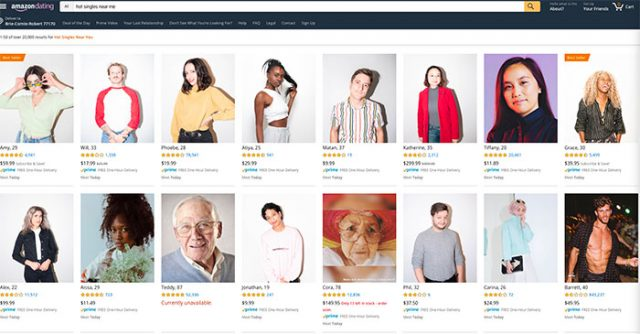 La page d'accueil d'Amazon Dating