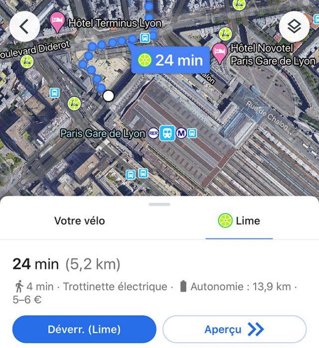 Google Maps propose une fonction très intéressante pour les utilisateurs de Lime