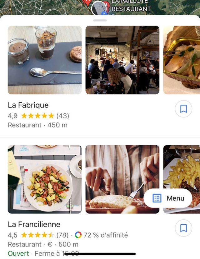 Dans certains cas, Google Maps peut même afficher le menu