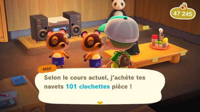 Le cours des navets change tous les jours dans Animal Crossing New Horizons