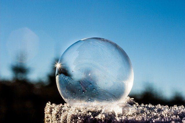 Une bulle glacée posée sur un tronc d'arbre